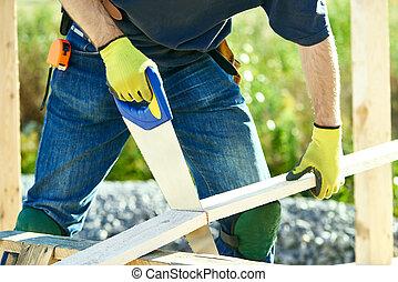 legna taglio, lavoratore, carpentiere, asse