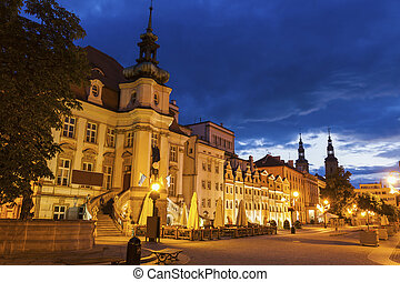 Legnica City Hall at evening