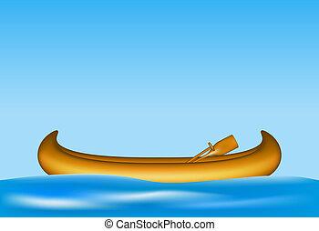 legno, acqua, galleggiante, canoa