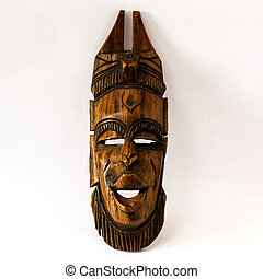legno, africano, maschera, su, uno, bianco, carta