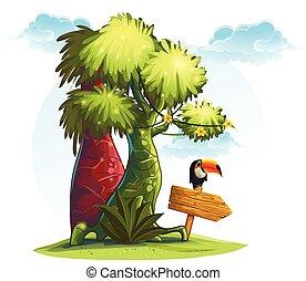 legno, albero, tucano, illustrazione, puntatore, uccello, giungla