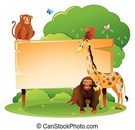 legno, animali selvaggi, sagoma, segno