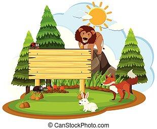 legno, animali selvaggi, segno