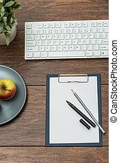 legno, apparecchiatura, affari, scrivania