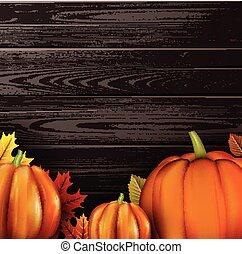 legno, arancia, pumpkins., fondo, 3d