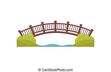 legno, arco, bridge., passerella, attraverso, il, river., passerella, fatto, di, wood., appartamento, vettore, elemento, per, mappa, di, parco città