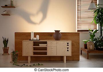 legno, armadietto, con, candele, in, camera letto, interno, con, piante, e, uggia, su, il, wall., reale, foto