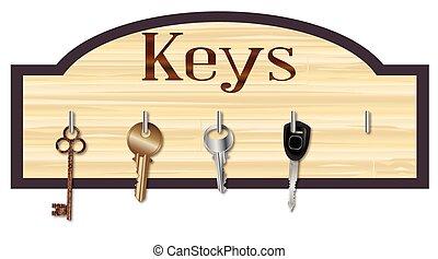 legno, asse, chiave