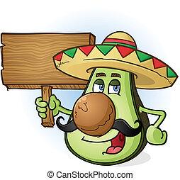 legno, avocado, cartone animato, segno