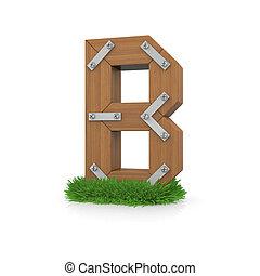 legno, b, erba, lettera
