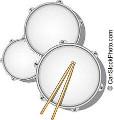 legno, bacchette, paio, tamburi