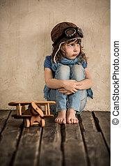 legno, bambino, aeroplano giocattolo, triste