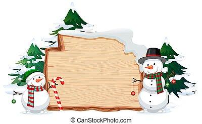 legno, bandiera, con, natale, questi