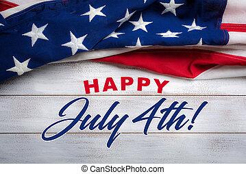 legno, bandiera, portato, augurio, americano, 4, fondo, bianco, luglio