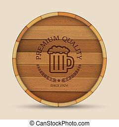 legno, barile birra, forma, etichetta