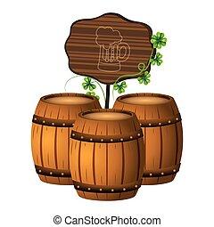 legno, barile birra, segno