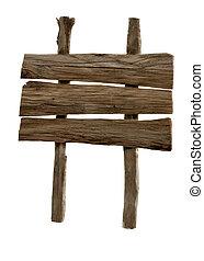 legno, bianco, isolato, segno