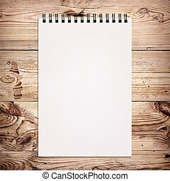 legno, bianco, quaderno, pittura, fondo
