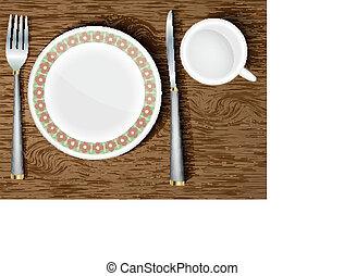 legno, bianco, set, piatti