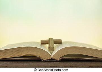 legno, bibbia, libro aperto, tavola
