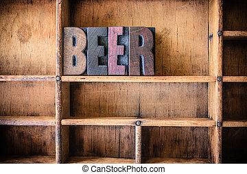 legno, birra, concetto, tema, letterpress