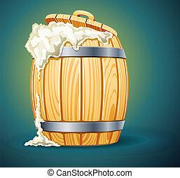 legno, birra, pieno, barile, schiuma
