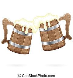 legno, birra, tazze, due