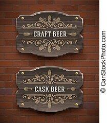 legno, birra, vecchio, signboards