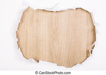 legno, buco, carta, superficie