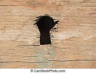 legno, buco serratura, porta, closeup, alterato