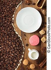 legno, caffè, concetto, fondo