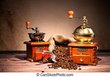 legno, caffè, natura morta, macinatori