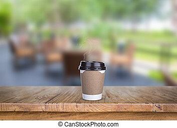 legno, caffè, ristorante, tazza, carta, tavola