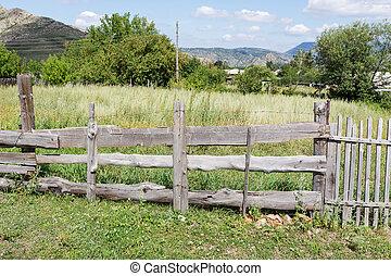 legno, campagna, vecchio, recinto
