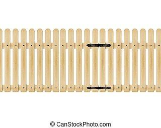 legno, cancello, vettore, illustrazione, recinto