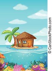 legno, capanna, su, il, isola