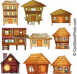 legno, capanne, progetta, differente