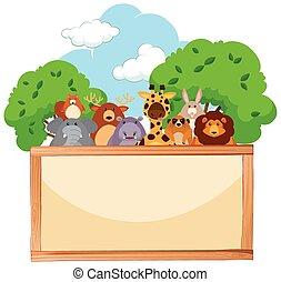 legno, carino, animali, asse, fondo