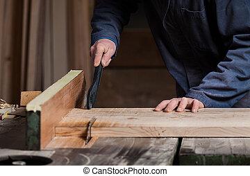 legno, carpenter's, tagliere, mani, sega tabella