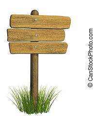 legno, cartello, da, tre, assi