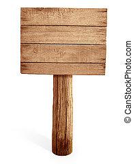 legno, cartello, isolato, bianco