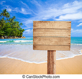 legno, cartello, spiaggia, tropicale