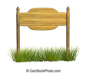legno, cartello, tre, assi