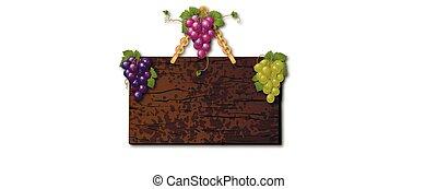 legno, cartello, uva