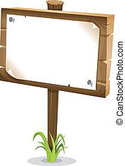legno, cartone animato, segno