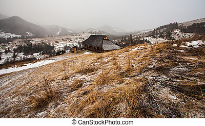 legno, casa, foresta, inverno