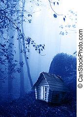 legno, casa, foresta, misterioso, nebbioso, paesaggio