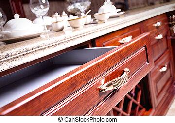 legno, cassetto, armadietto, aperto, vuoto