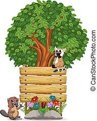 legno, castoro, lemur, sagoma, segno