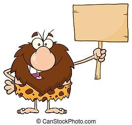 legno, caveman, asse, presa a terra